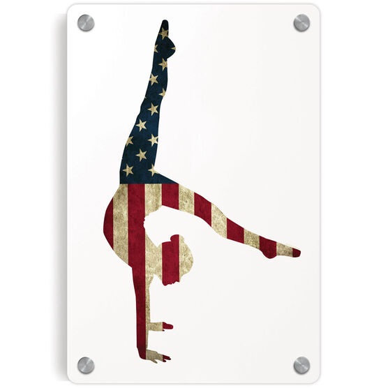Gymnastics Metal Wall Art Panel - American Flag Silhouette