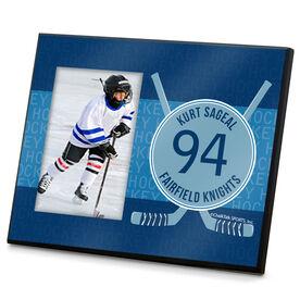 Hockey Personalized Photo Frame Hockey Word Pattern With Crossed Sticks