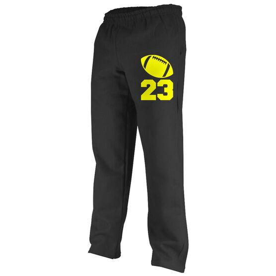 Football Fleece Sweatpants Football Icon with Number