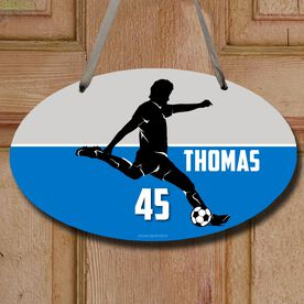 Soccer Oval Sign Personalized Soccer Guy Name and Number