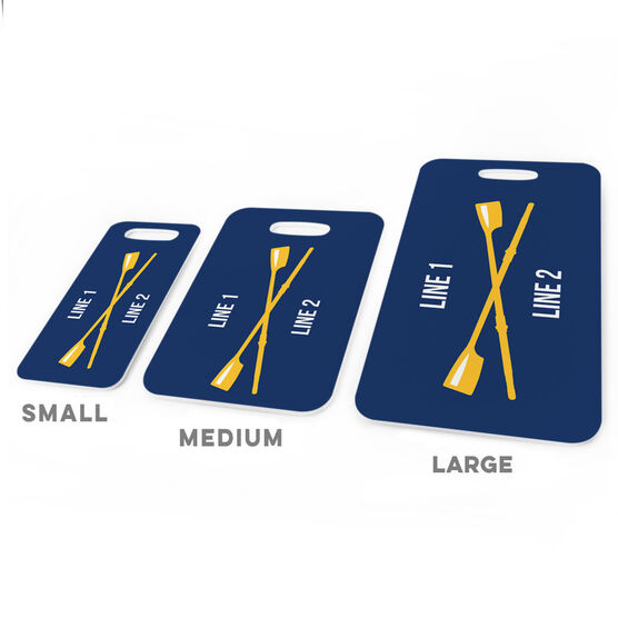 Crew Bag/Luggage Tag - Personalized Text with Crossed Oars