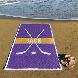Hockey Premium Beach Towel - Personalized Crossed Sticks with Stripe