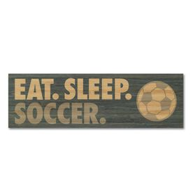 "Soccer 12.5"" X 4"" Printed Bamboo Removable Wall Tile - Eat Sleep Soccer"