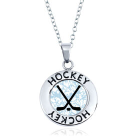 Hockey Circle Necklace - Crossed Sticks