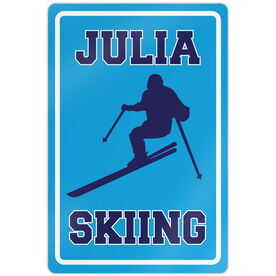 "Skiing 18"" X 12"" Aluminum Room Sign Personalized Skiing Girl"