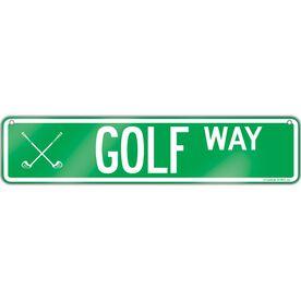 """Golf Aluminum Room Sign Golf Way (4""""x18"""")"""