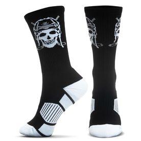 Hockey Woven Mid-Calf Socks - Skull