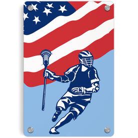 Guys Lacrosse Metal Wall Art Panel - USA Lacrosse Player Flag