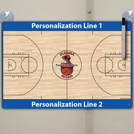 "Basketball Custom Dry Erase Coach Board Full Court - 18"" X 12"""