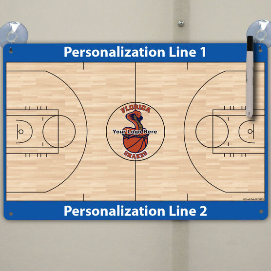 "Basketball Custom Dry Erase Coach Board Full Court - 18"" X 12"""