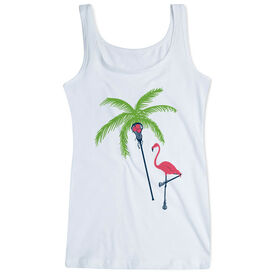 Girls Lacrosse Women's Athletic Tank Top Palm Tree And Flamingo
