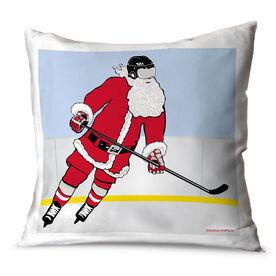 Hockey Throw Pillow Santa Slap Shot Hockey