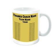 Hockey Coffee Mug Thanks Coach Custom Logo With Team Roster