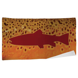 Fly Fishing Beach Towel Brown Trout with Silhouette