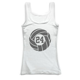 Volleyball Vintage Fitted Tank Top - Custom Number