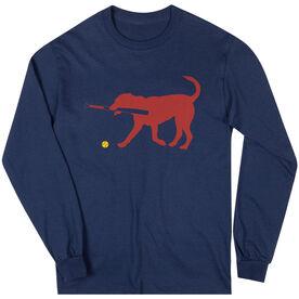 Softball Tshirt Long Sleeve Pitch The Softball Dog