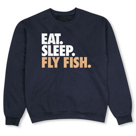Fly Fishing Crew Neck Sweatshirt - Eat Sleep Fly Fish (Bold)