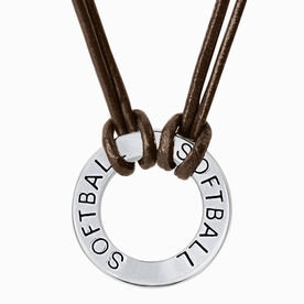 Softball Message Ring Cord Necklace