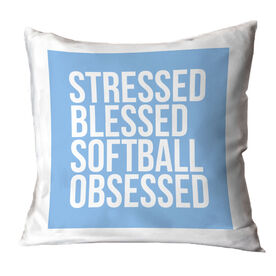 Softball Throw Pillow - Stressed Blessed Softball Obsessed