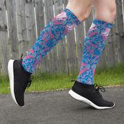 Figure Skating Printed Knee-High Socks - Floral Skates
