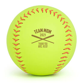 Personalized Engraved Softball - Team Mom