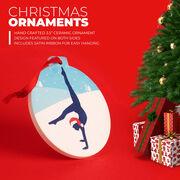 Gymnastics Round Ceramic Ornament - Silhouette