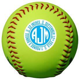 Personalized Softball - Monogram Birth Announcement