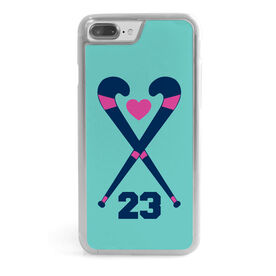 Field Hockey iPhone® Case - Personalized Crossed Sticks Heart