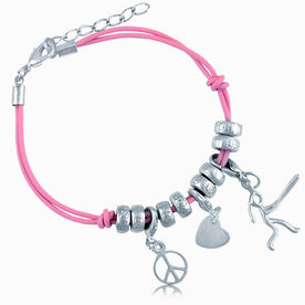 Peace Love Softball Girl (Stick Figure) Silver Charm Bracelet
