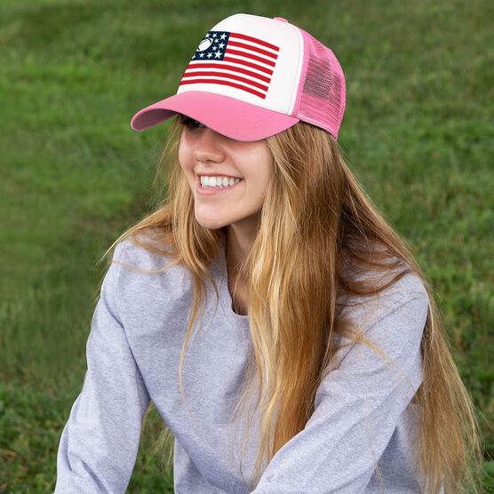 Football Trucker Hat - American Flag