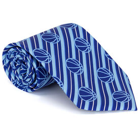 Basketball Blue Stripe Pattern with Light Blue Web Silk Tie