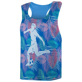 Soccer Racerback Pinnie - Tropical Palm Pattern with Silhouette