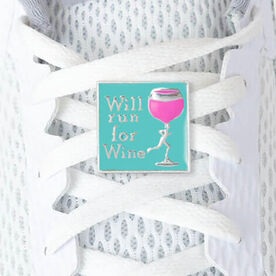 LaceBLING Shoelace Charm - Will Run For Wine