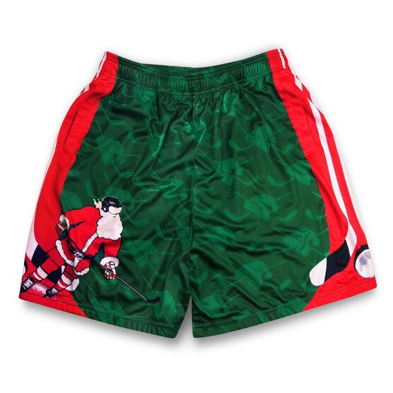 Slap Shot Santa Christmas Hockey Shorts