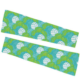 Volleyball Printed Arm Sleeves - Volleyball Tropical Leaves