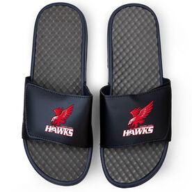 Navy Slide Sandals - Greater Lowell Hawks Hockey Logo