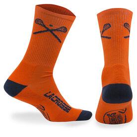 Lacrosse Woven Mid-Calf Socks - Crossed Sticks (Orange)