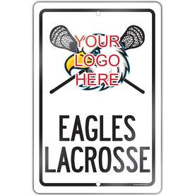 "Lacrosse Aluminum Room Sign Custom Guys Lacrosse Logo with Team Name (18"" X 12"")"
