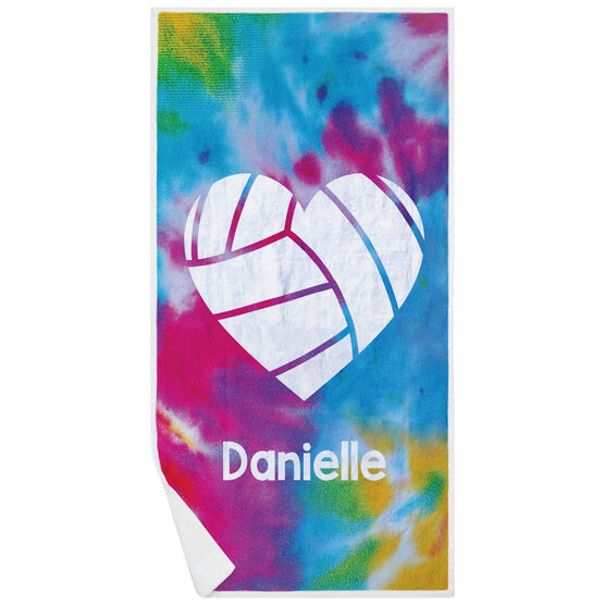Volleyball Premium Beach Towel - Personalized Tie-Dye Pattern with Heart