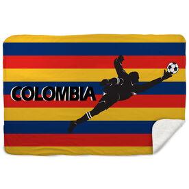 Soccer Sherpa Fleece Blanket - Colombia