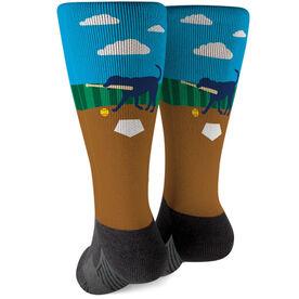 Softball Printed Mid-Calf Socks - Mitts The Softball Dog