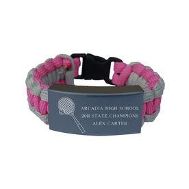 Tennis Paracord Engraved Bracelet - 3 Lines/Pink
