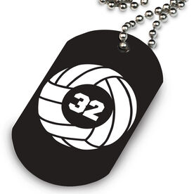 Volleyball Printed Dog Tag Necklace Volleyball Team Number
