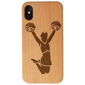 Cheerleading Engraved Wood IPhone® Case - Cheerleader Jumping