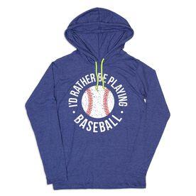 Women's Baseball Lightweight Hoodie - Rather Be Playing Baseball Distressed
