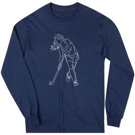 Field Hockey Long Sleeve T-Shirt - Field Hockey Player Sketch