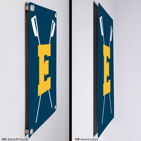 "Crew 18"" X 12"" Aluminum Room Sign - Crossed Oars With Initial"