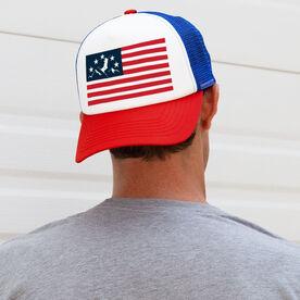 Skiing Trucker Hat - American Flag