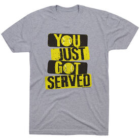 Tennis Tshirt Short Sleeve You Just Got Served with Neon Yellow