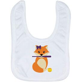 Softball Baby Bib - Softball Fox